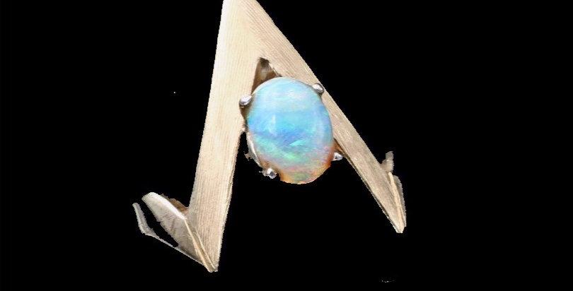 14k Modern Design Opal Ring