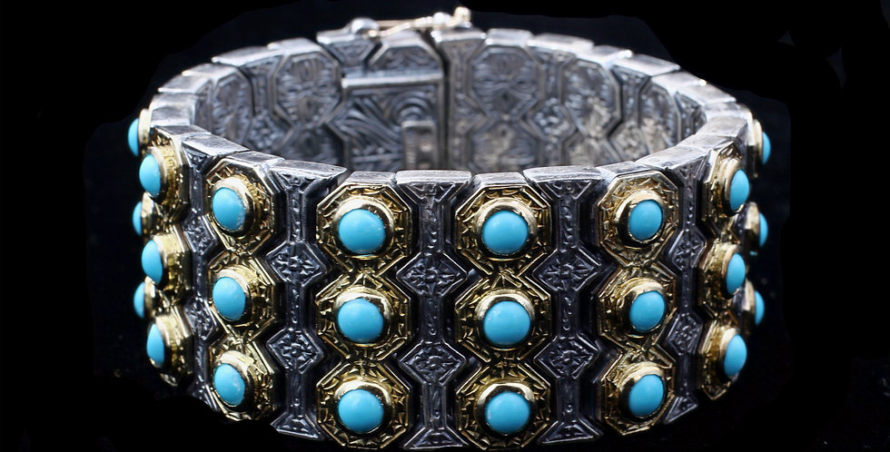 Sterling Silver & 18K Gold Konstantino Turquoise Bracelet