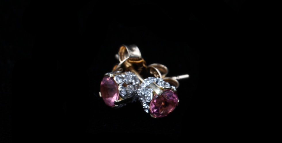 14K Pink Tourmaline & Diamond Earrings
