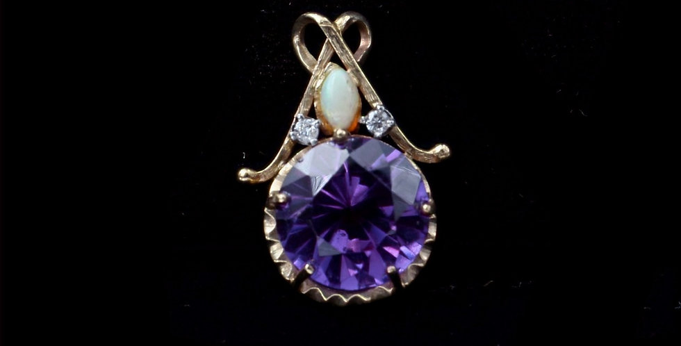 14K Synthetic Sapphire and Opal Pendant