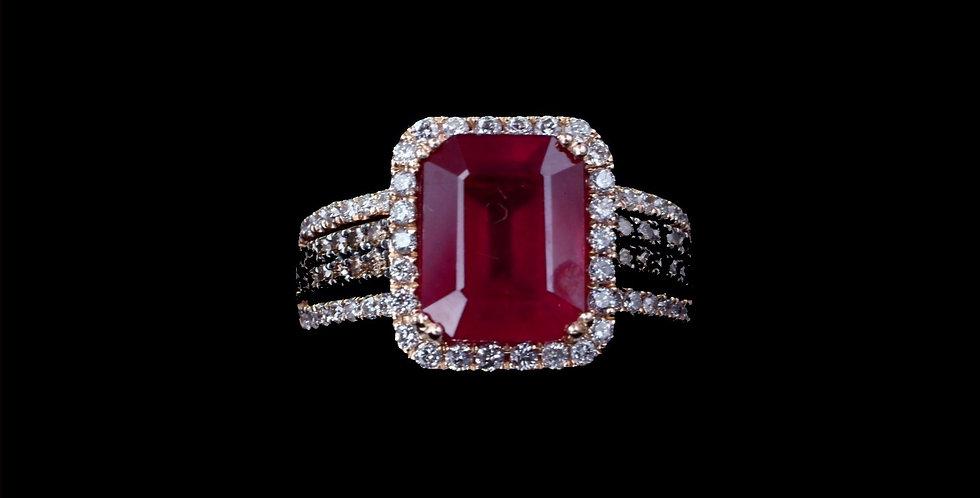 14K Rose Gold Effy Designer Ruby & Chocolate & Colorless Diamond Ring