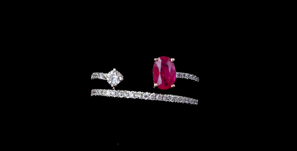 14K Rose Gold Kallati Design Ruby & Diamond Ring