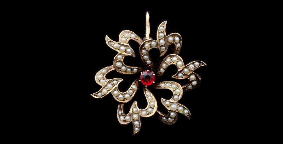 Antique Garnet & Pearl Pendant