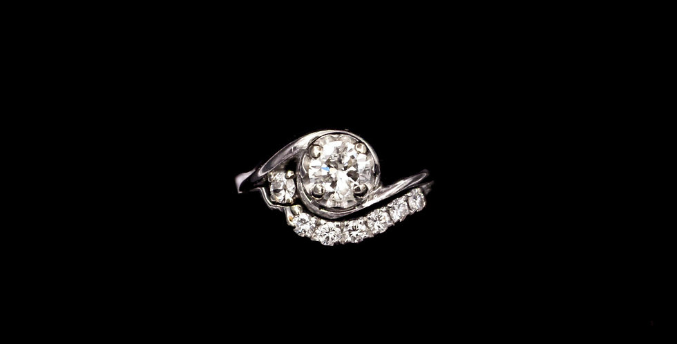 Vintage Platinum .73 & .30ct Diamond Ring