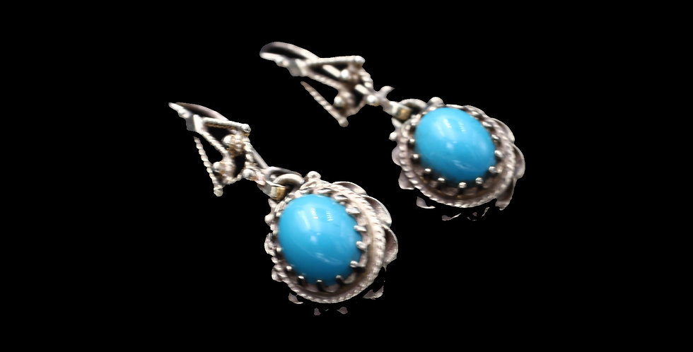 14K Yellow Gold Vintage Turquoise Earrings