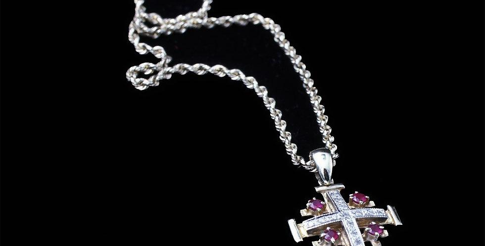 14K Yellow Gold Jerusalem Cross Necklace
