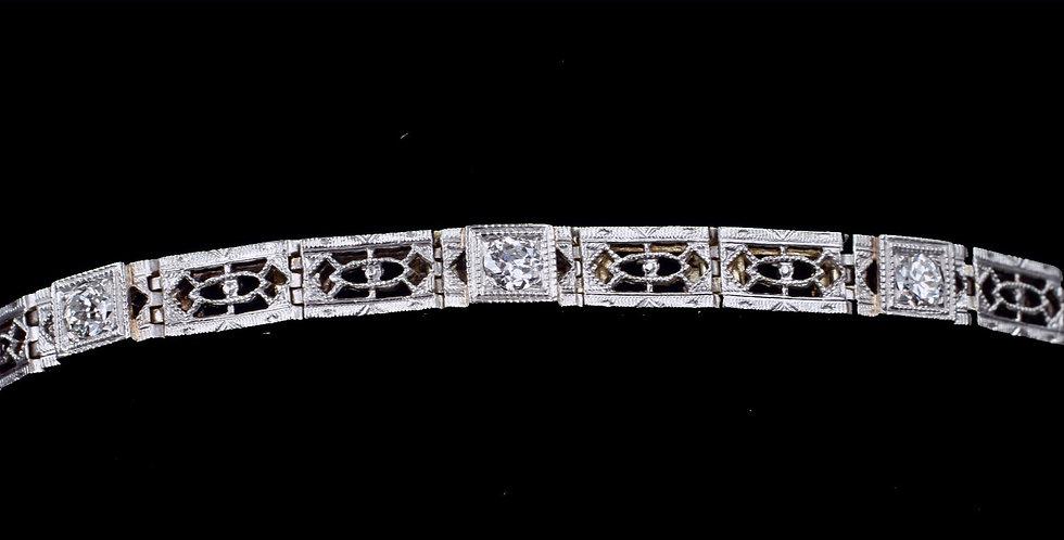 14K & Platinum .50ct Diamond Art Deco Bracelet