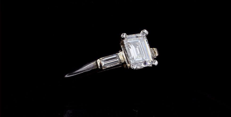 Platinum .80ct Emerald Cut & .20ct side Diamond Vintage Ring