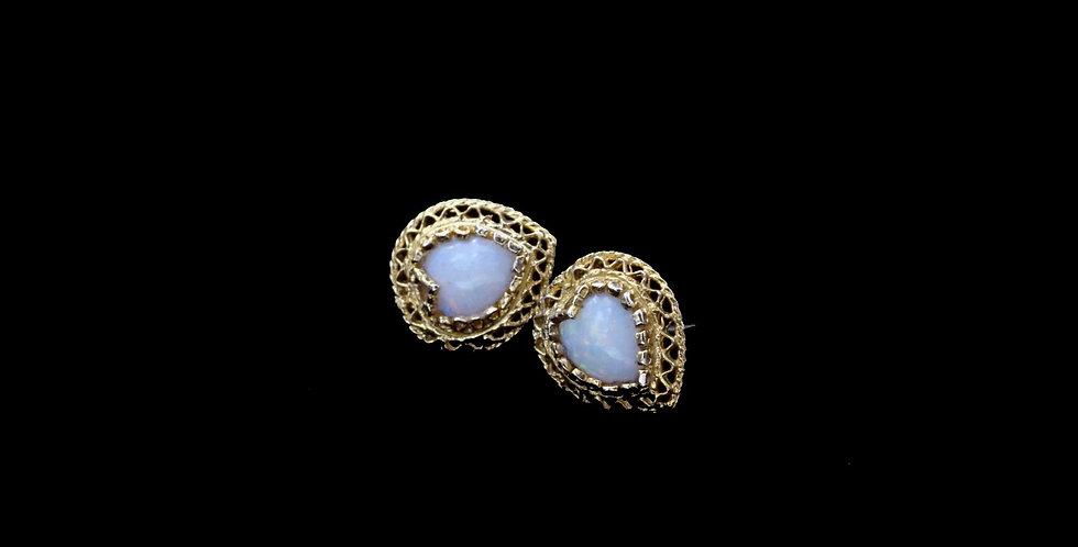 14K Opal Heart Earrings