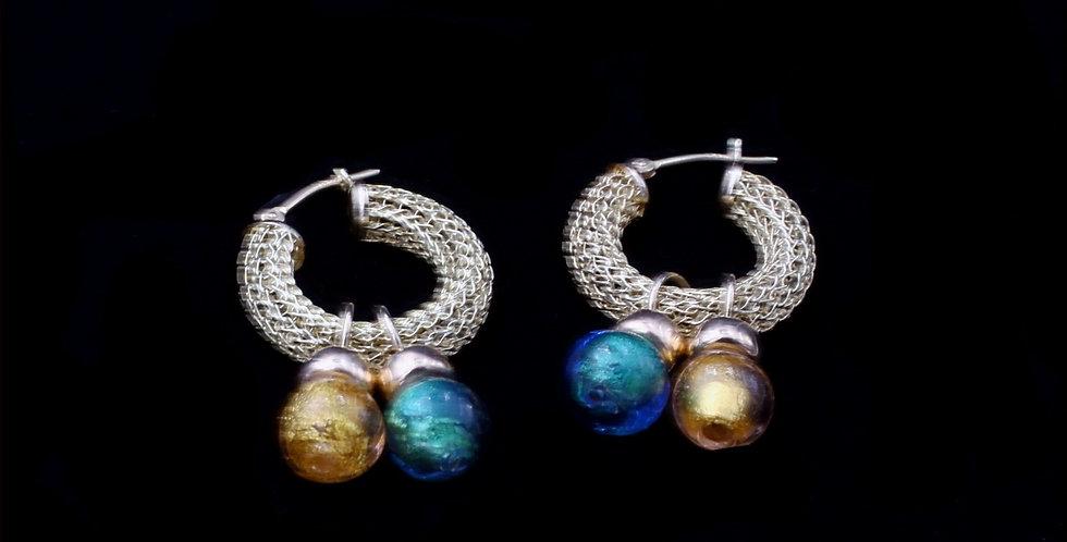 14K Yellow Gold Hoop Earrings With Murano Glass Dangles