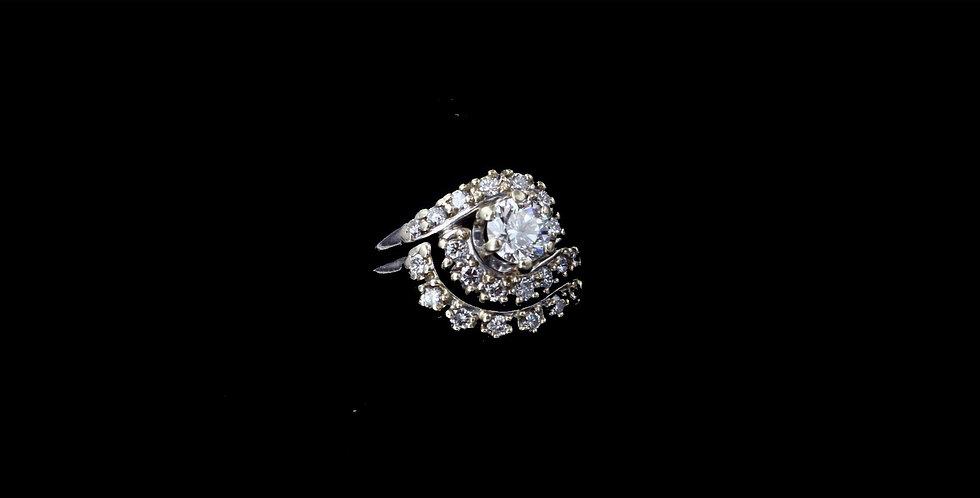 14K White Gold .62 Carat Center & .63 Carat Surround Diamond Ring Set