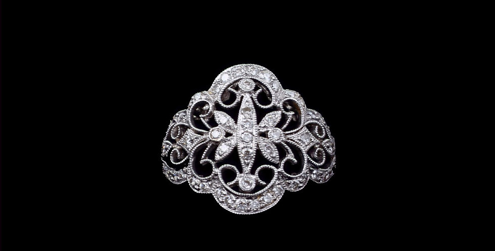 14K White Gold 1.00 Carat Total Weight Diamond Filigree Ring