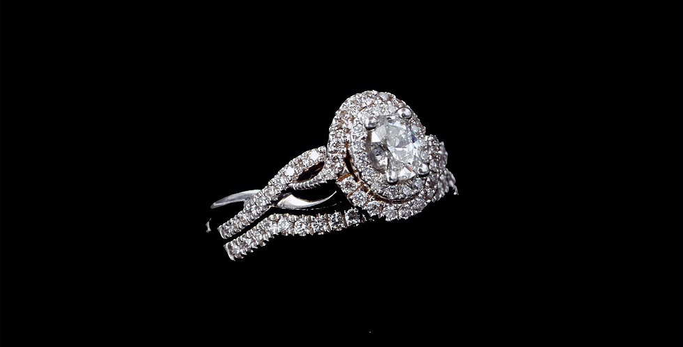 14K .30 Carat Center Oval Diamond Ring