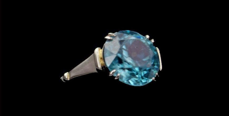 14K White Gold Vintage Blue Zircon Ring