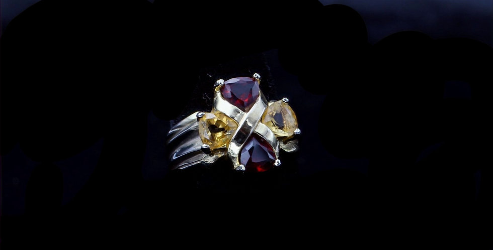 14K Citrine and Garnet Ring