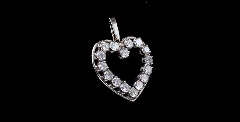 14K White Gold 1.72 Carat Total Weight Diamond Pendant