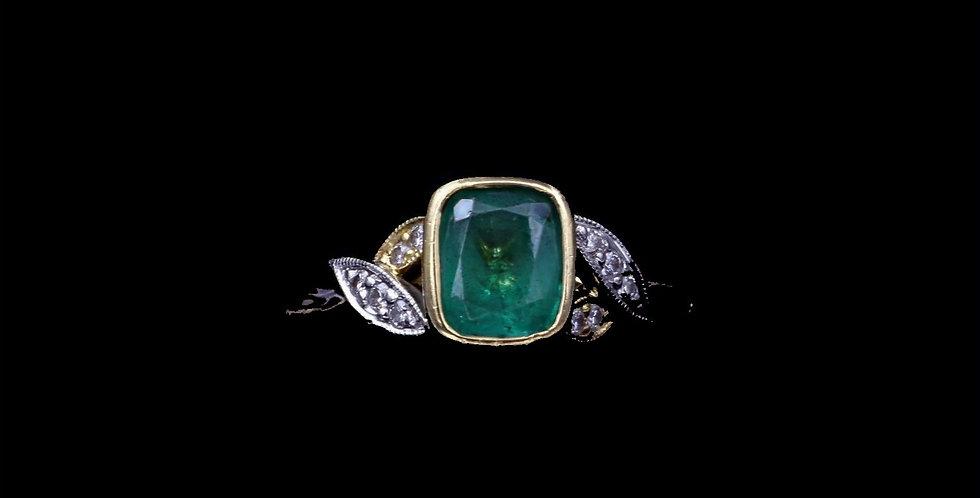 18K 1.40 Carat Emerald & Diamond Ring