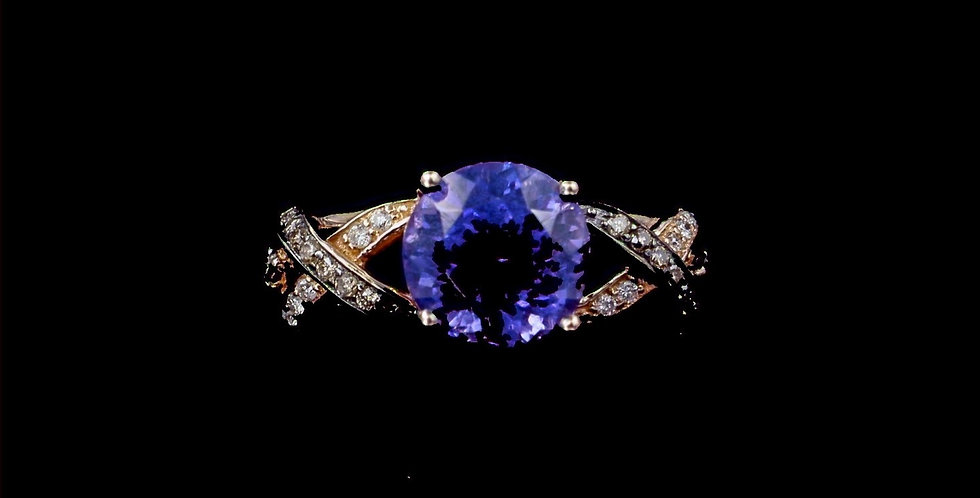 14K Rose Gold LeVian Designer Tanzanite & Champagne & Colorless Diamond Ring