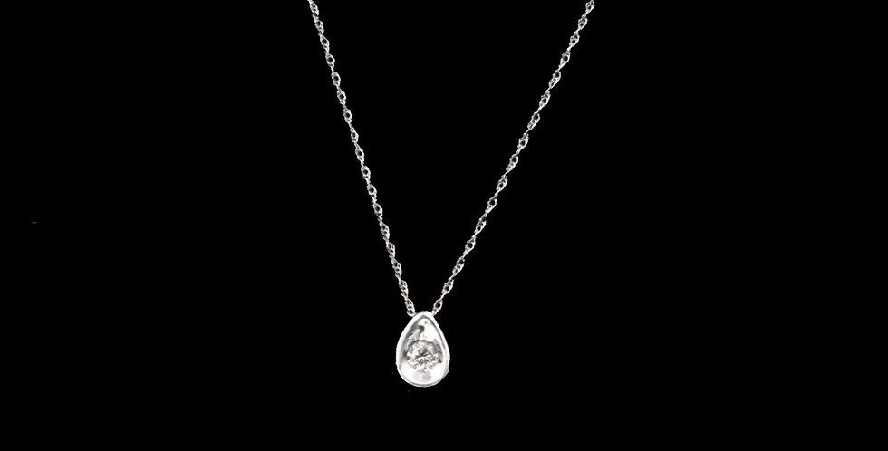 14K White Gold .05 Carat Diamond Necklace