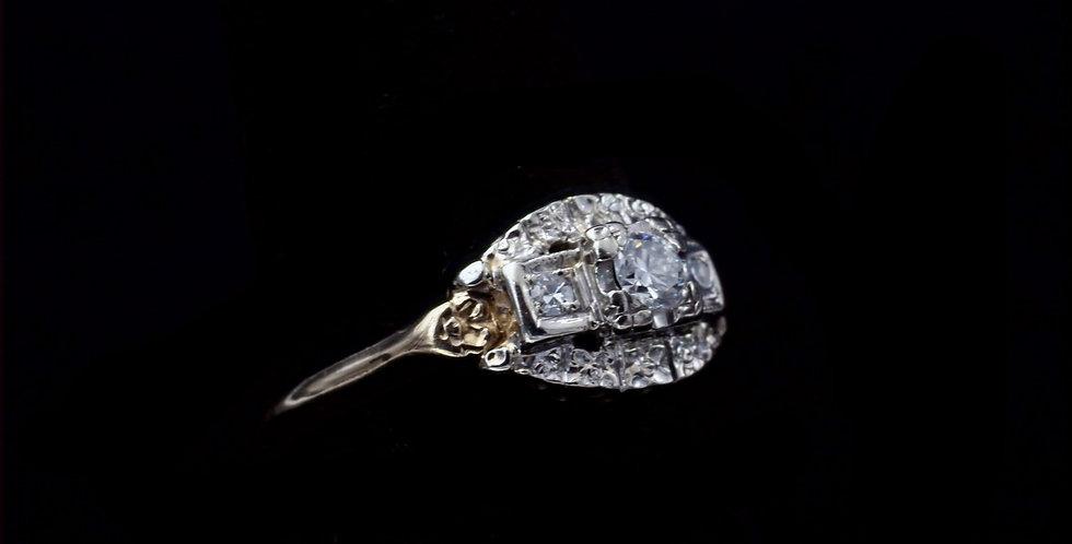 14K Yellow Gold Vintage .14 Carat Diamond Ring