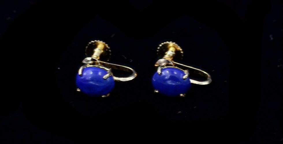 14K Lapis Screw Back Non Pierced Vintage Earrings