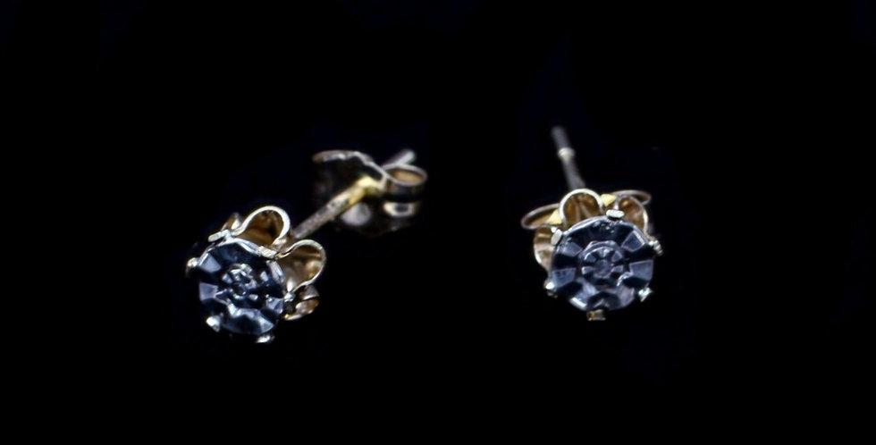 14K Yellow & White Gold .01 Carat Diamond Earrings