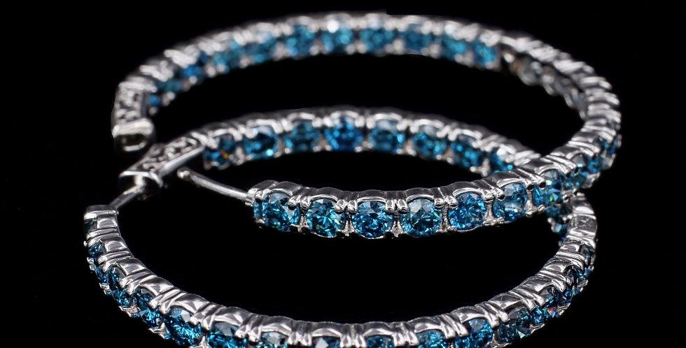 14K 5.00ct twt.Blue Diamond Hoop Earrings