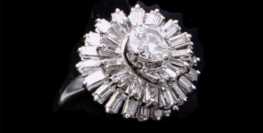 Platinum 1.00ct Center & 3.00ct Diamond Ring