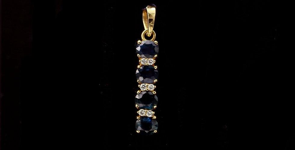 18K Yellow Gold Sapphire & Diamond Pendant
