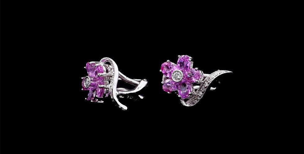 14K White Gold Pink Sapphire & Diamond Earrings