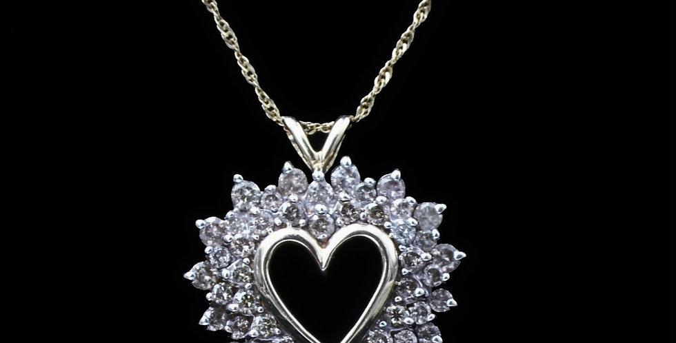10K Yellow Gold 1.00 Carat Diamond Heart Necklace