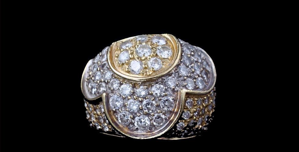 18K Yellow & White Gold 1.75 Carat Total Weight Diamond Ring
