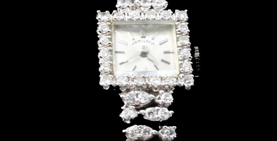 14kWhite Gold Vintage Diamond Watch
