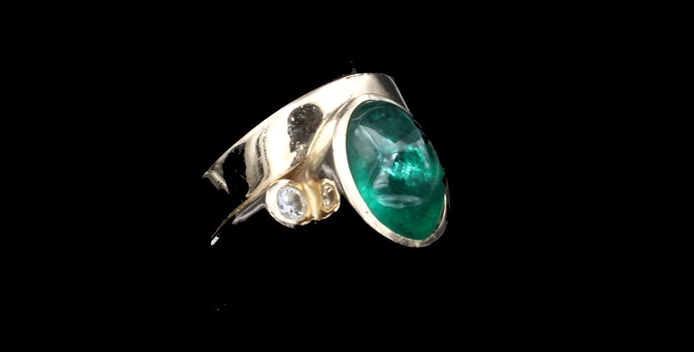 14K Yellow Gold 7.00 Carat Emerald Cabochon and .10 carat Diamond Ring