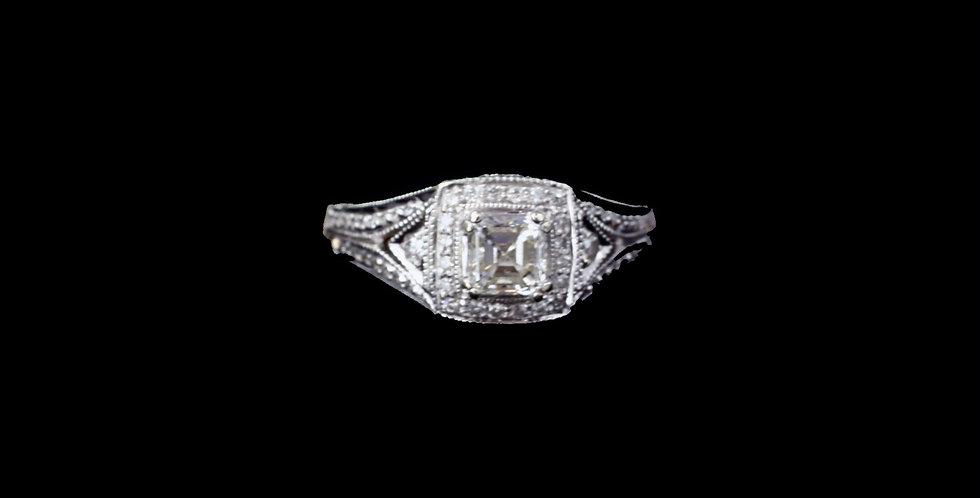 14K White Gold .75 Carat Total Weight Diamond Ring