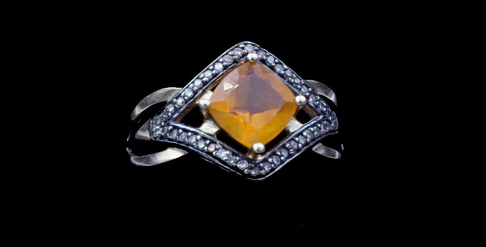 14K Faceted Opal & Diamond Ring