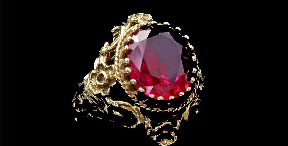 14K Vintage Synthetic Ruby Ring
