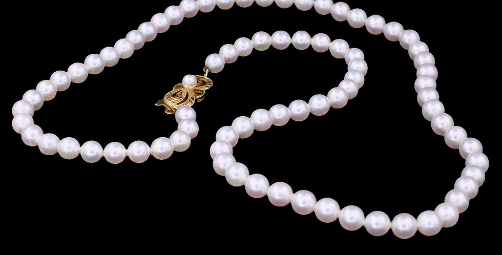 18K Mikimoto Salt Water Cultured Pearl Necklace
