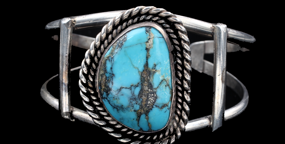 Large Silver Turquoise Cuff Bracelet