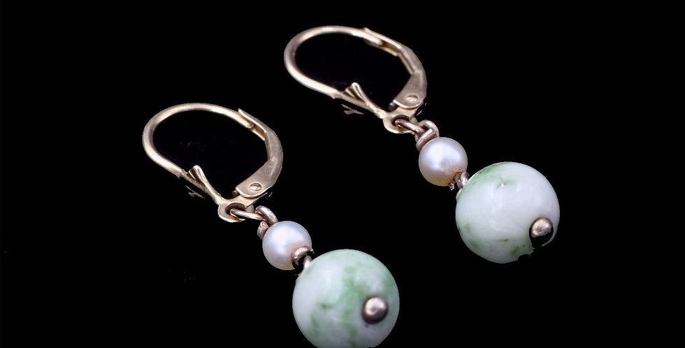 14K Jade and Pearl Earrings