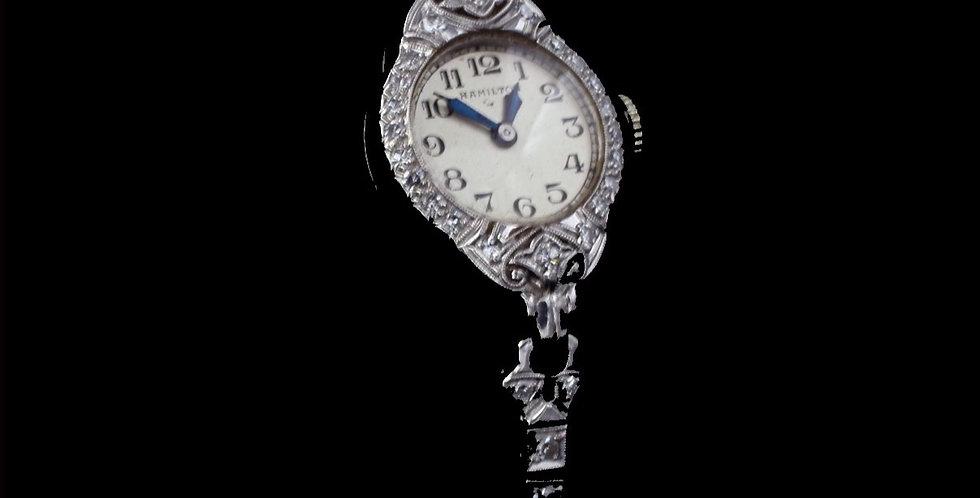 Vintage 1930s Platinum Hamilton 1.25 Carat Diamond Watch