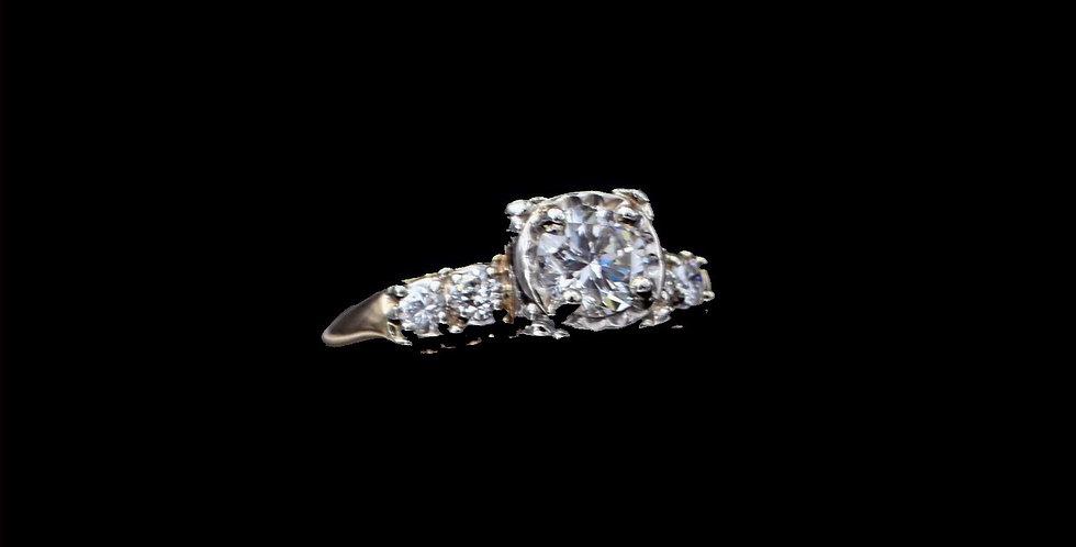 14K Yellow Gold .57ct & .24ct Vintage Diamond Ring