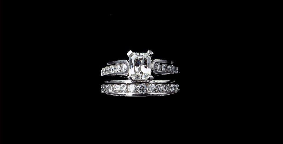 Platinum 1.10 Carat Center Diamond Ring Set