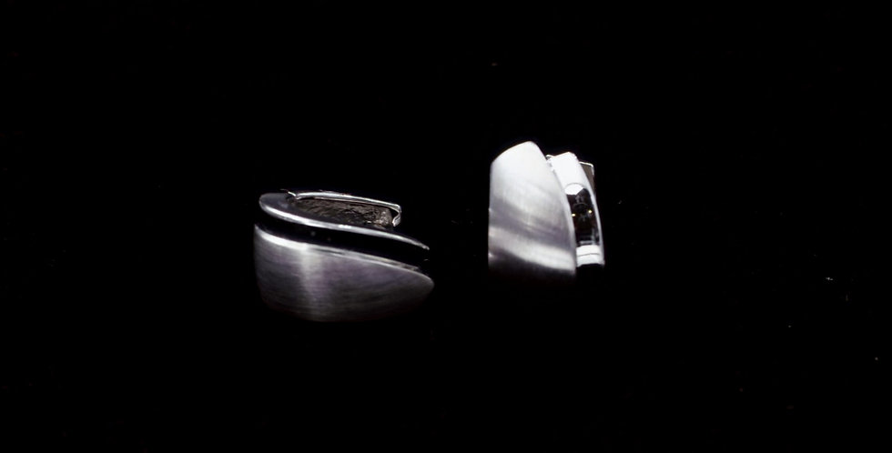 Two Finishes Huggy Earrings in 14K White Gold
