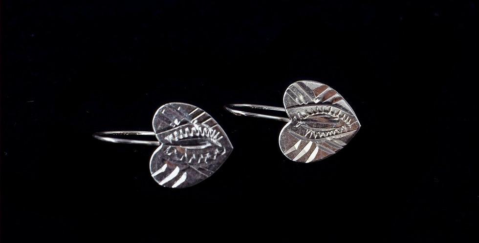14K Yellow Gold Engraved Heart Earrings