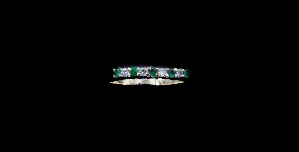 14K Vintage Emerald & Diamond Ring