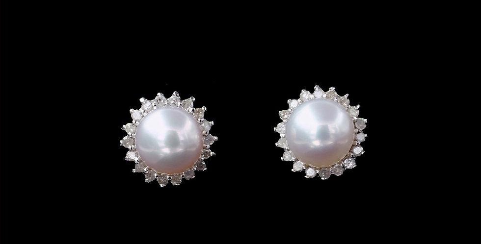 14K White Gold Pearl & Diamond Earrings
