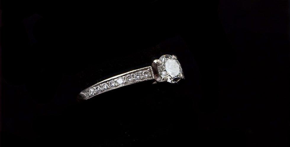 14K White Gold .55 Carat & .24 Carat Diamond Ring