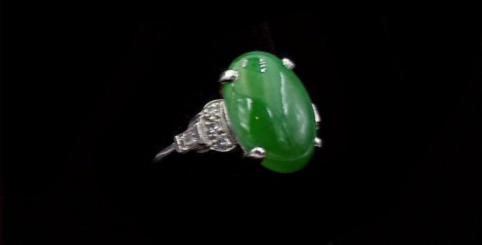 14K White Gold Jadeite Jade & Diamond Ring