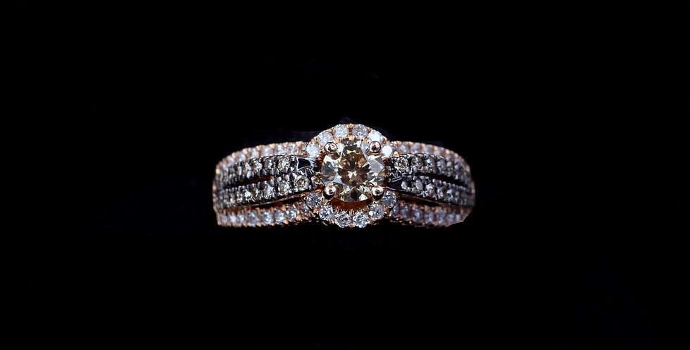14K Rose Gold 1.00 Carat Total Weight Champagne & Colorless Diamond Ring